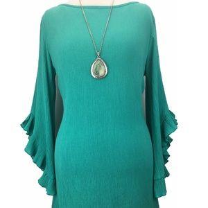 BASICALLY ME Dresses - BASICALLY ME green crinkle dress